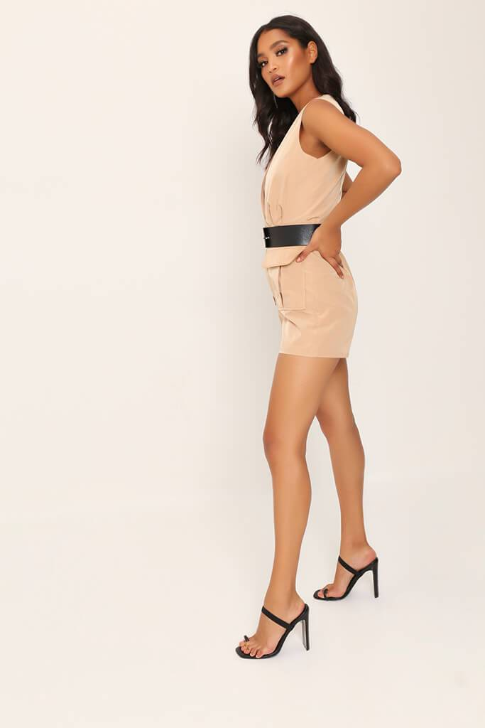 Camel Utility Belted Playsuit view 3