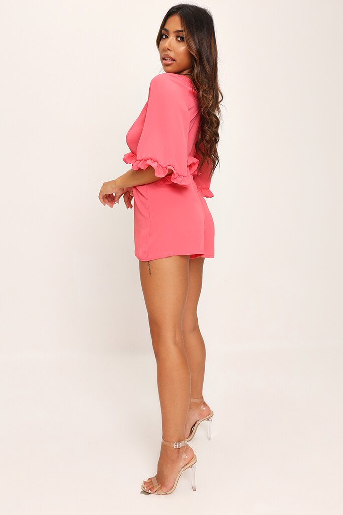 Coral Frill Detail Plunge Smock Playsuit view 3