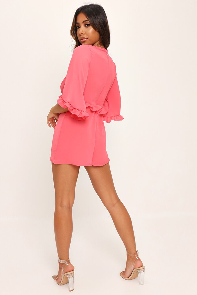 Coral Frill Detail Plunge Smock Playsuit view 5