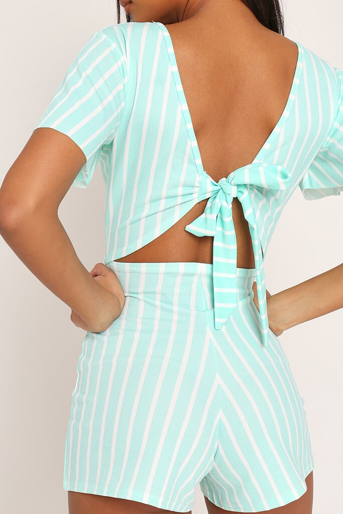New Look White Stripe Tie Back Playsuit Sizes 8 to 14