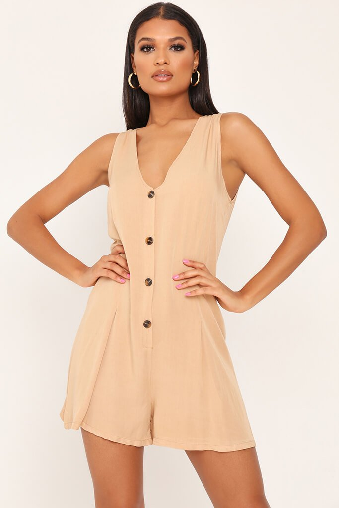 Stone Sleevless Button Front Playsuit