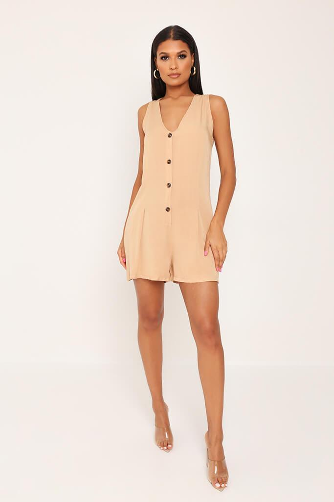 Stone Sleevless Button Front Playsuit view 2