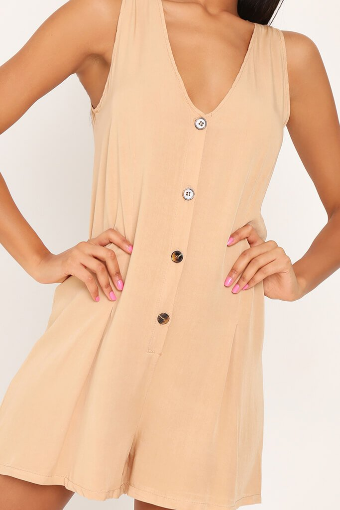 Stone Sleevless Button Front Playsuit view 4