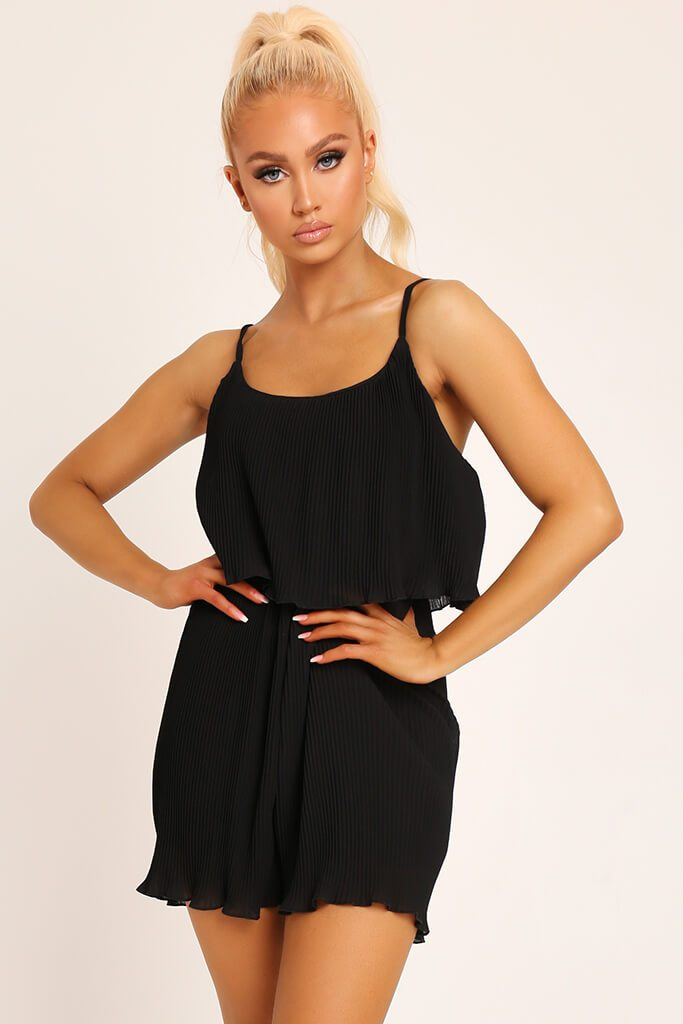Black Pleated Strappy Playsuit