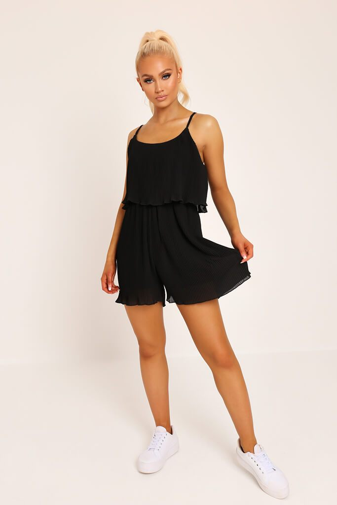 Black Pleated Strappy Playsuit view 2
