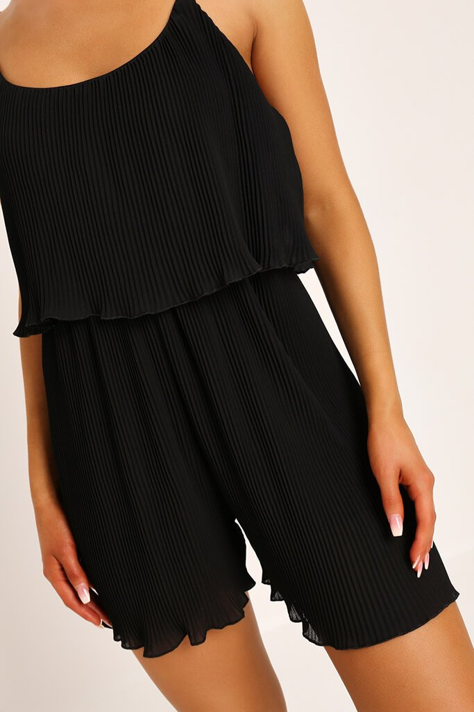 Black Pleated Strappy Playsuit view 4