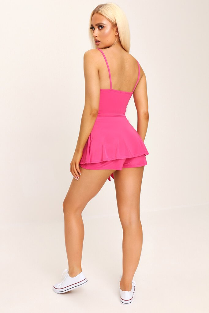 Fuchsia Slinky Tie Front Playsuit view 5