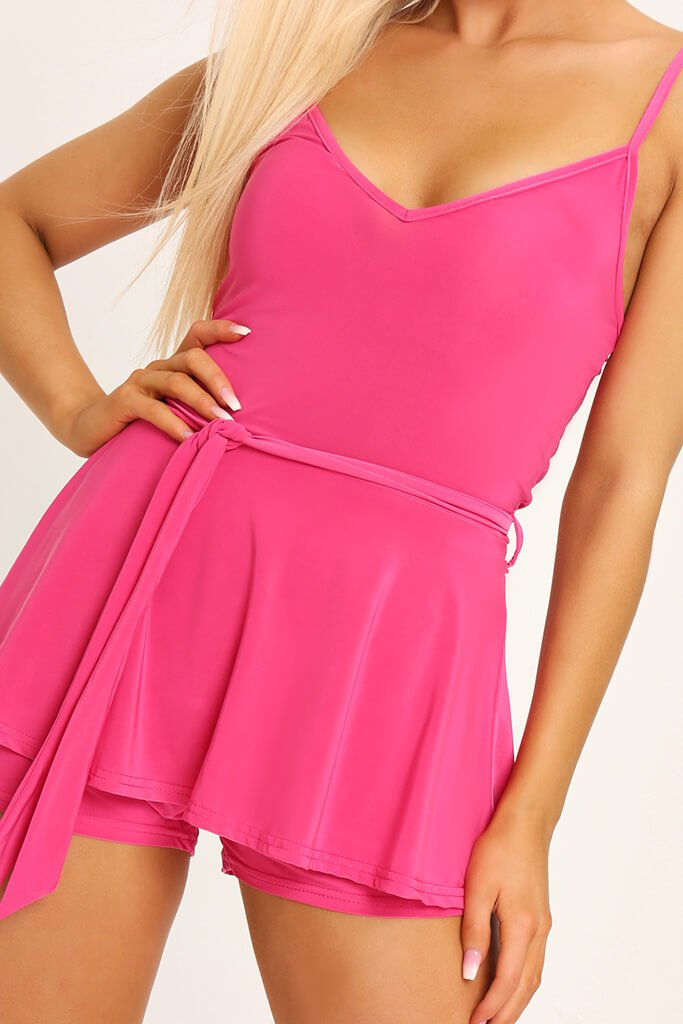 Fuchsia Slinky Tie Front Playsuit view 4