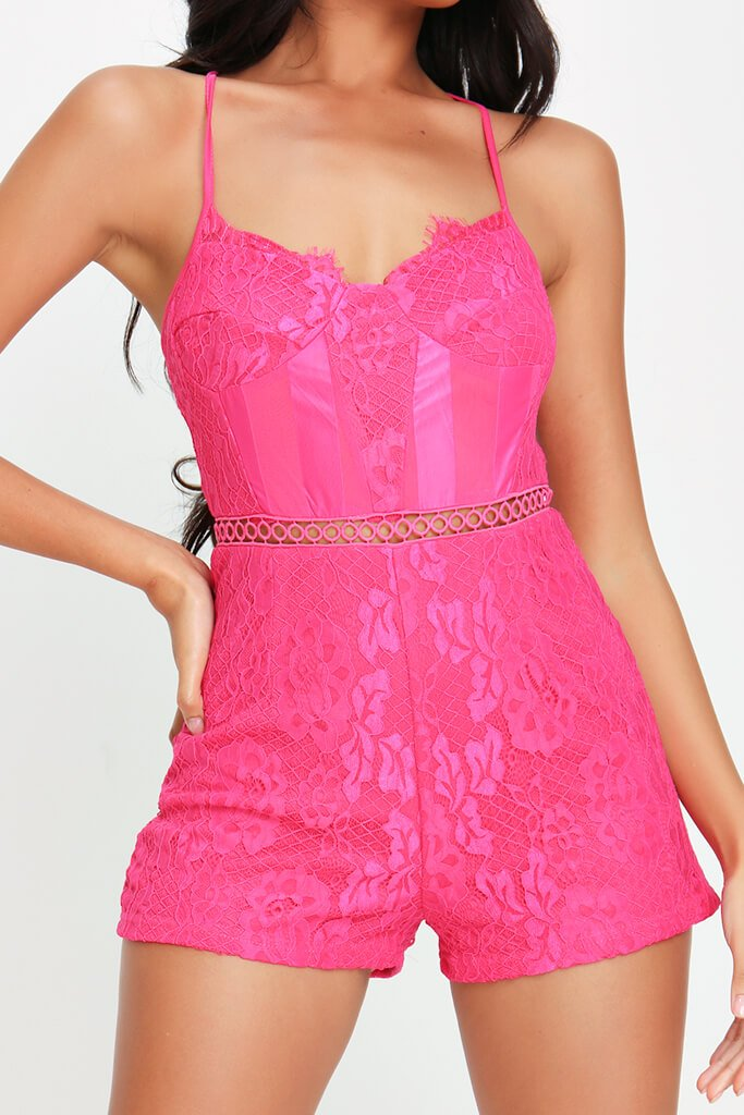 Fuchsia Lace Cross Back Playsuit view 4