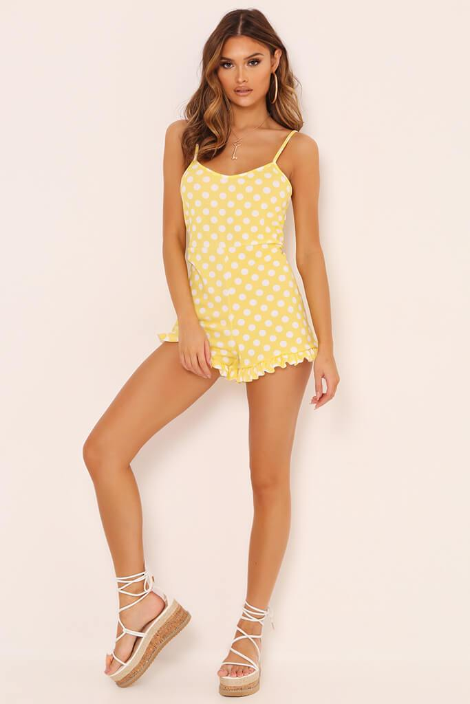 Yellow Polka Dot Print Cami Playsuit view 2