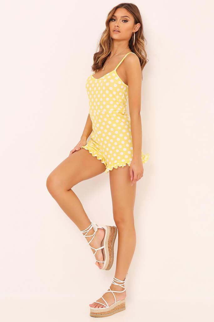 Yellow Polka Dot Print Cami Playsuit view 3