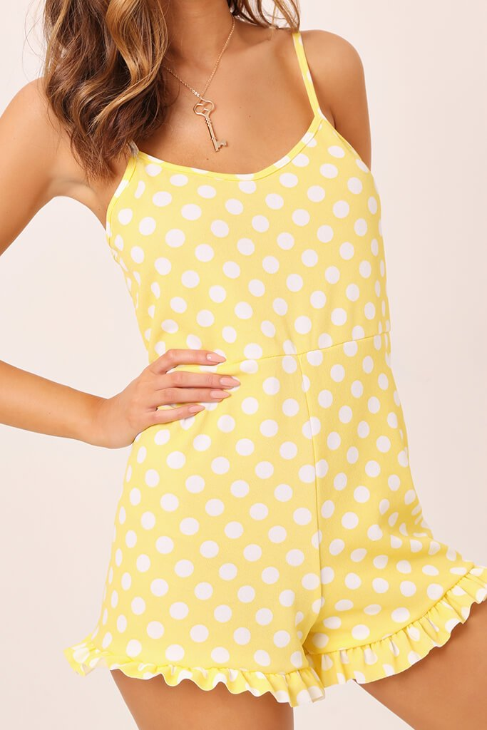Yellow Polka Dot Print Cami Playsuit view 4