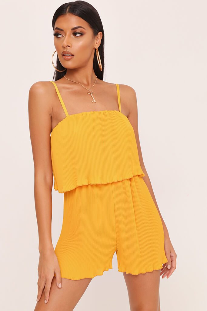 Yellow Pleated Strappy Playsuit