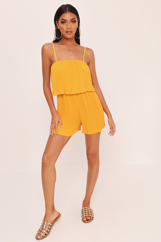 Yellow Pleated Strappy Playsuit view 2