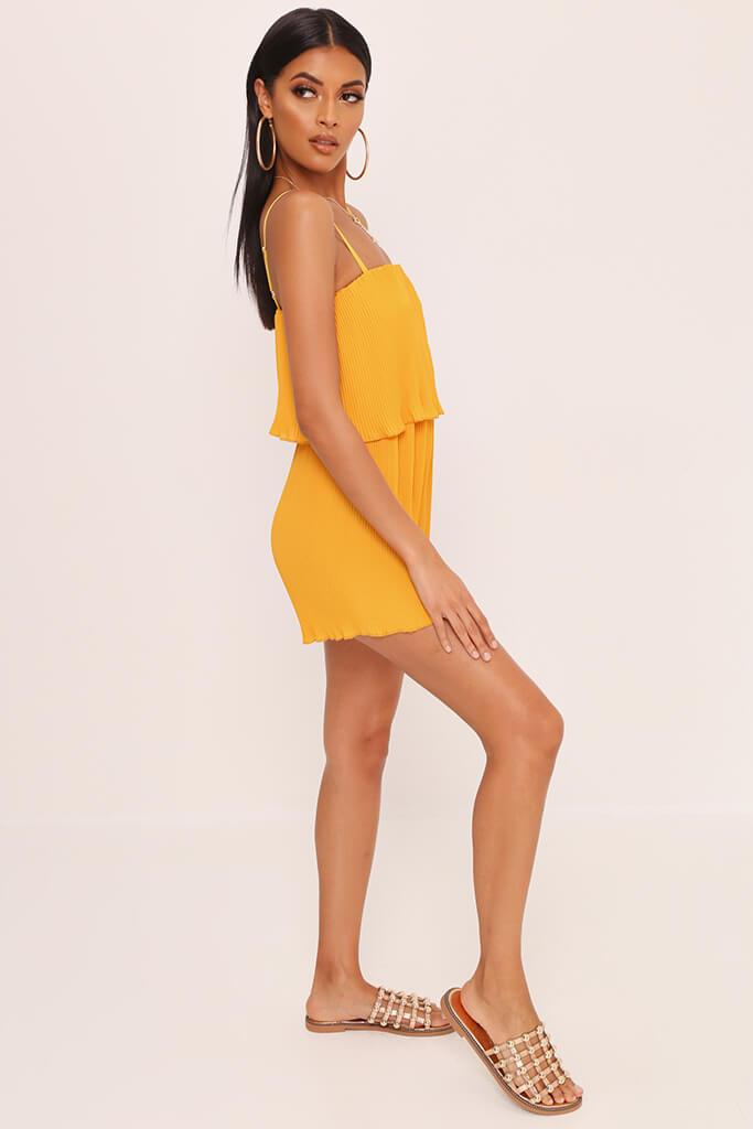 Yellow Pleated Strappy Playsuit view 3