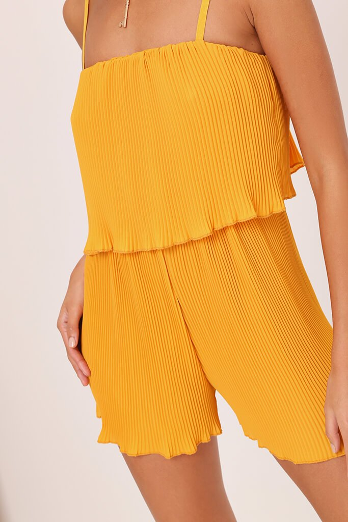 Yellow Pleated Strappy Playsuit view 4