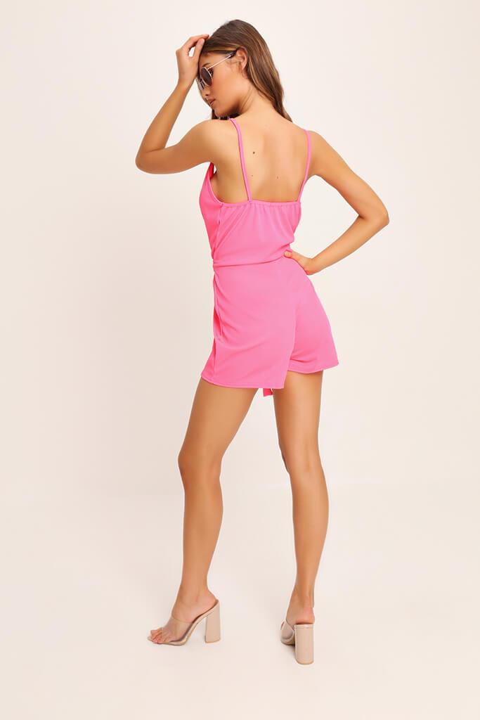 Coral Tie Waist Strappy Playsuit view 4