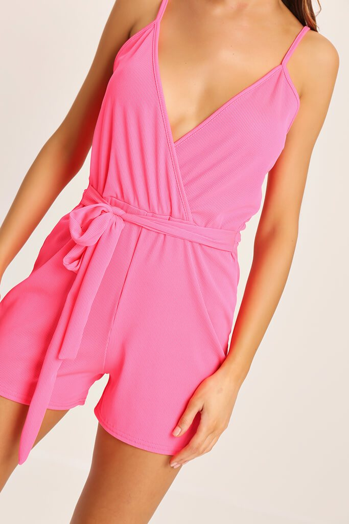 Coral Tie Waist Strappy Playsuit view 3