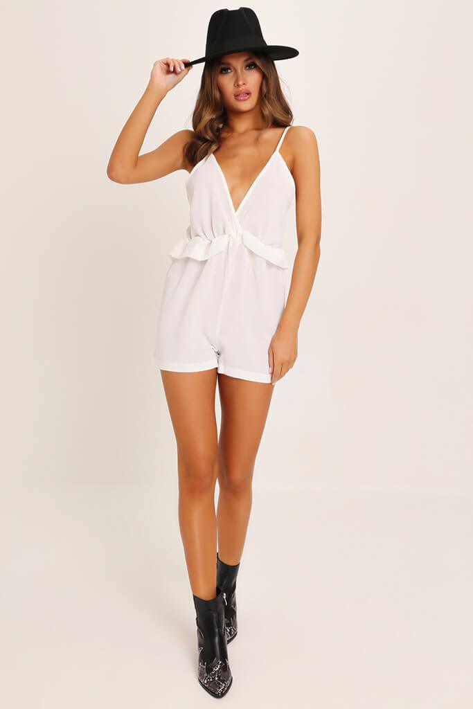 White Ruffle Detail Strappy Playsuit view 2