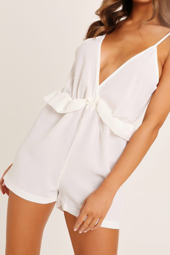 White Ruffle Detail Strappy Playsuit view 4