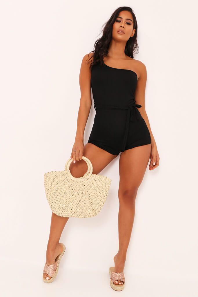 Black One Shoulder Tie Waist Playsuit view 2
