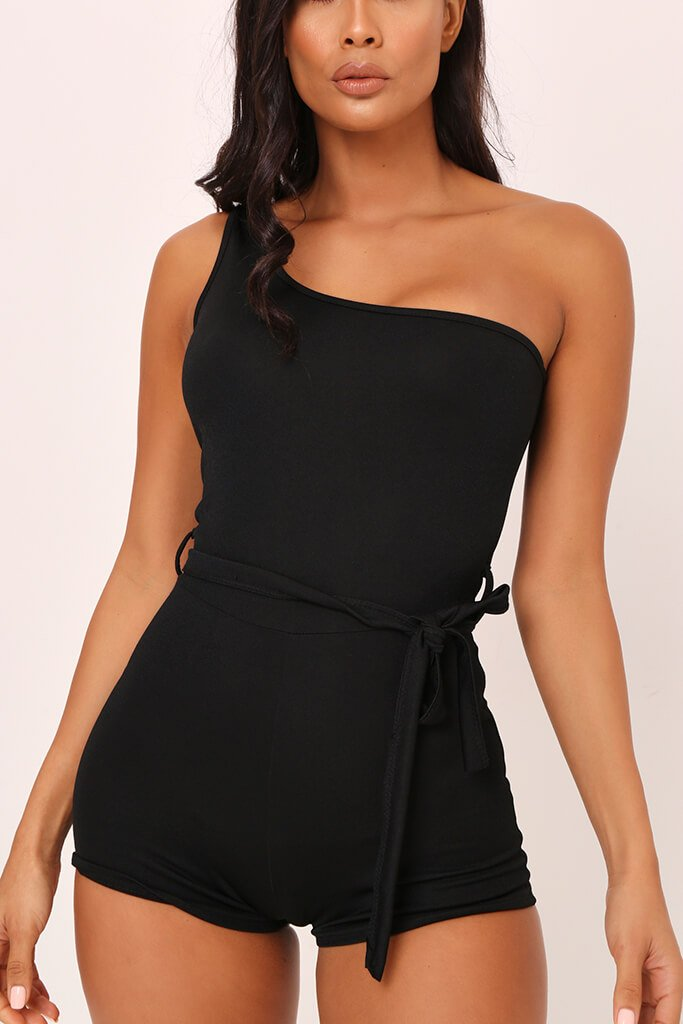 Black One Shoulder Tie Waist Playsuit view 4