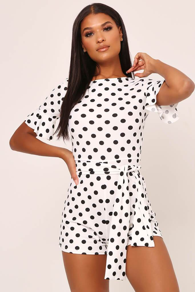 White / Black Polka Dot Tie Waist Frill Sleeve Playsuit