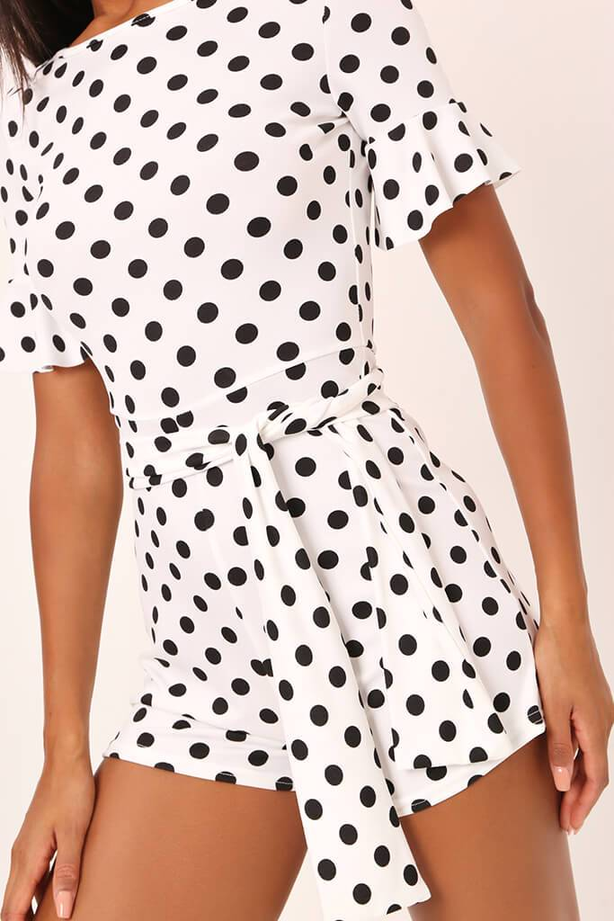 White / Black Polka Dot Tie Waist Frill Sleeve Playsuit view 4