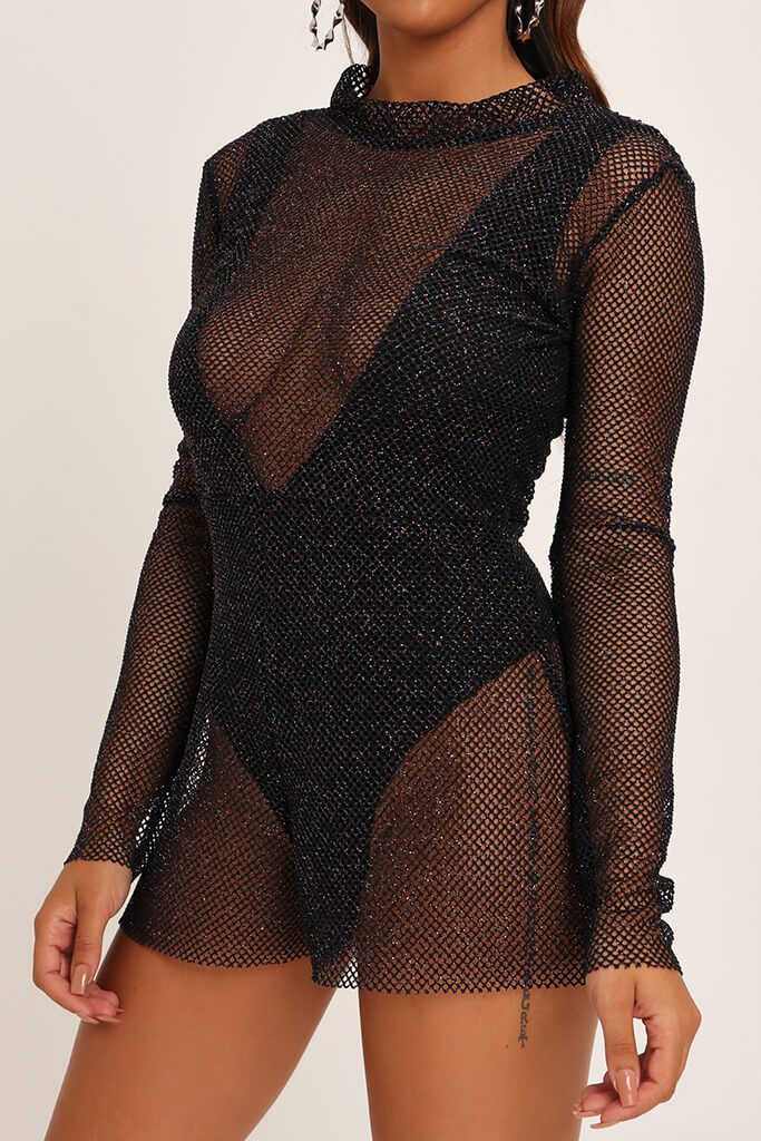 Black Sparkle High Neck Fishnet Playsuit view 4