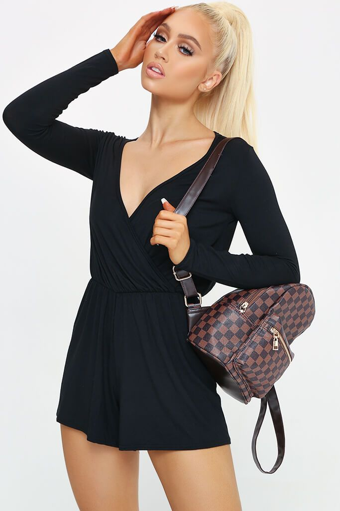 Black Long Sleeve Wrap Front Playsuit