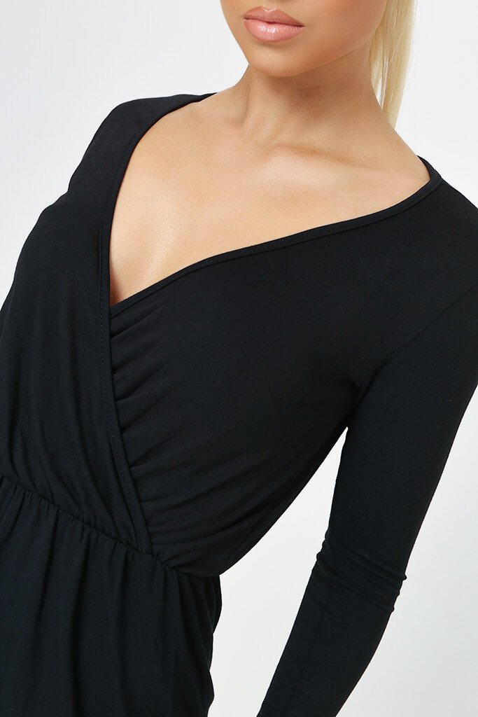 Black Long Sleeve Wrap Front Playsuit view 4