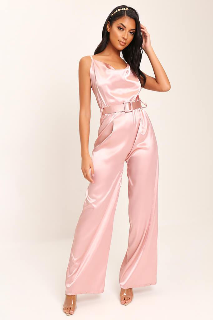 Pink Belted Satin Jumpsuit view 2