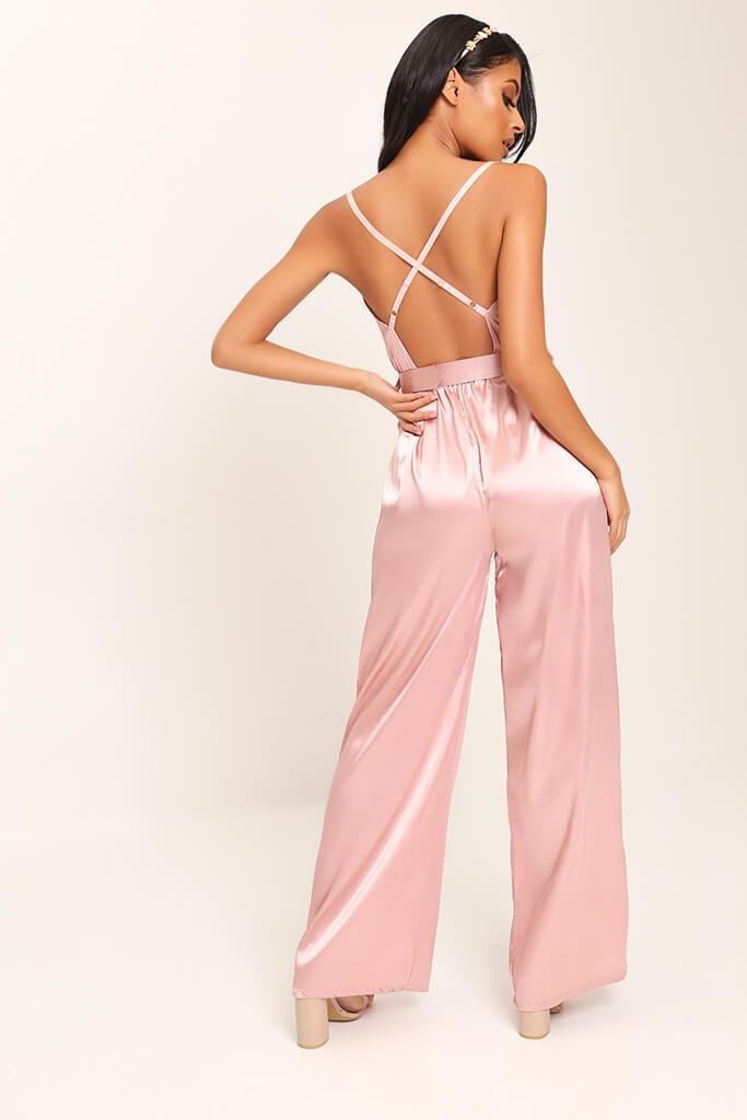 Pink Belted Satin Jumpsuit view 5