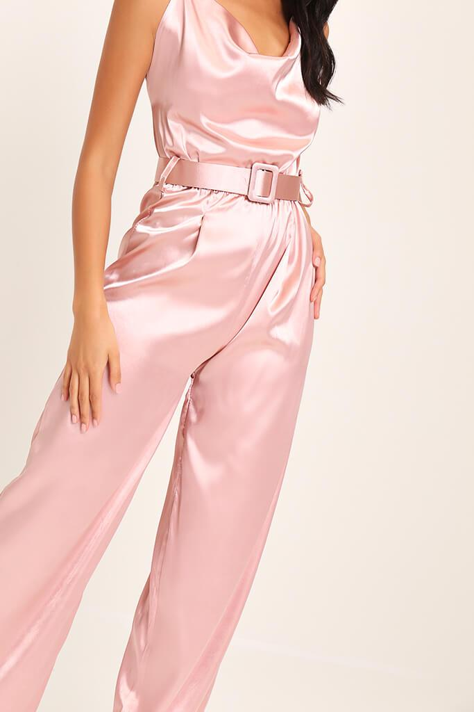 Pink Belted Satin Jumpsuit view 4