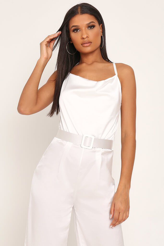 White Belted Satin Jumpsuit view 2