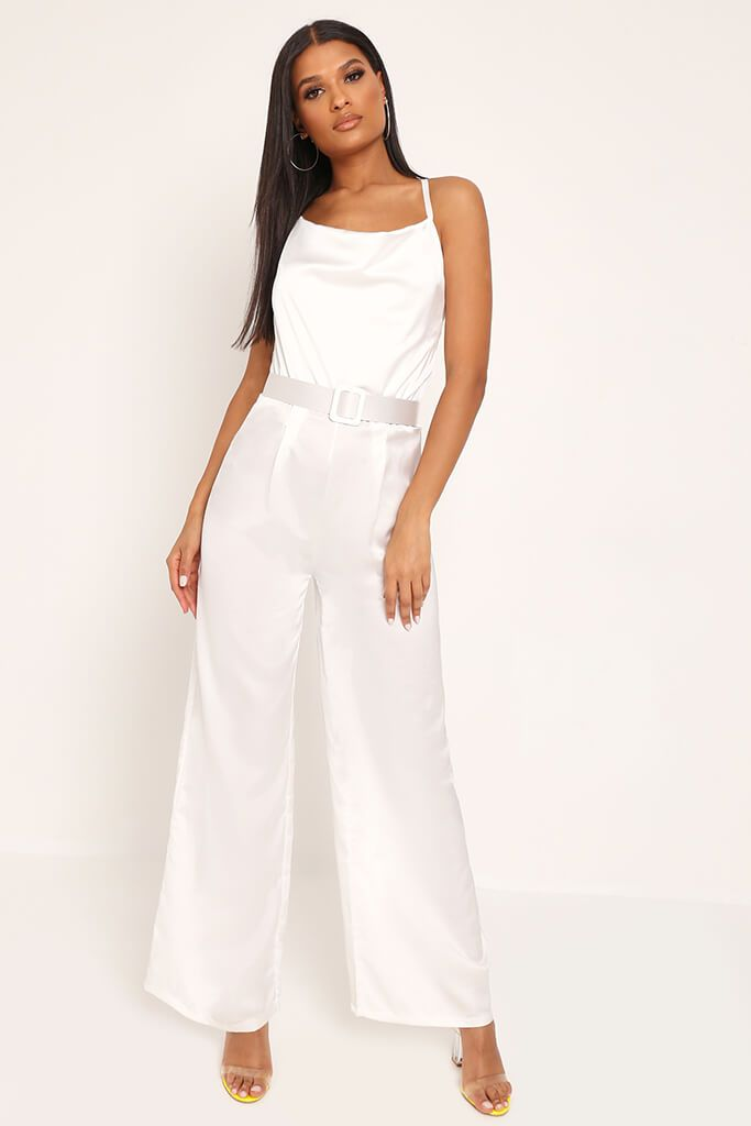 White Belted Satin Jumpsuit