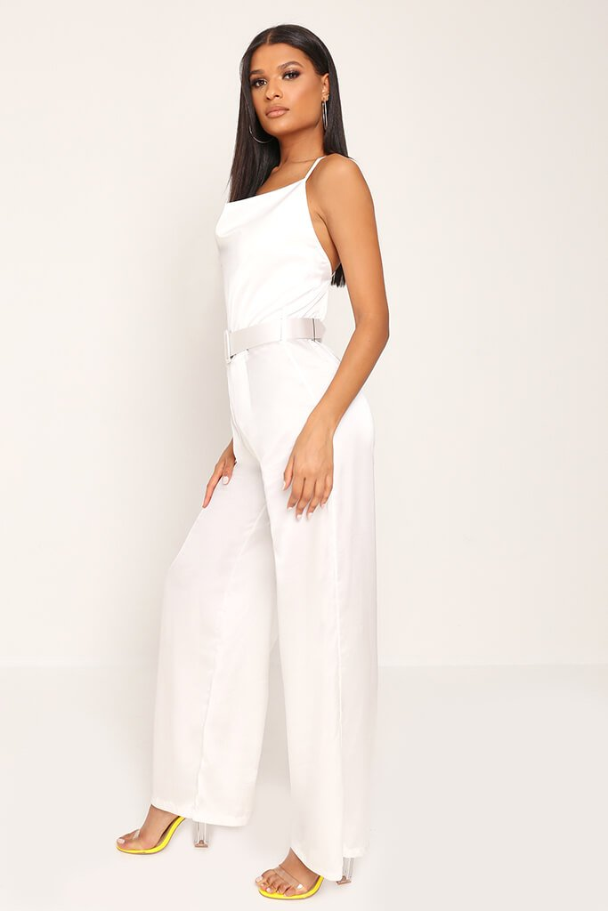 White Belted Satin Jumpsuit view 3