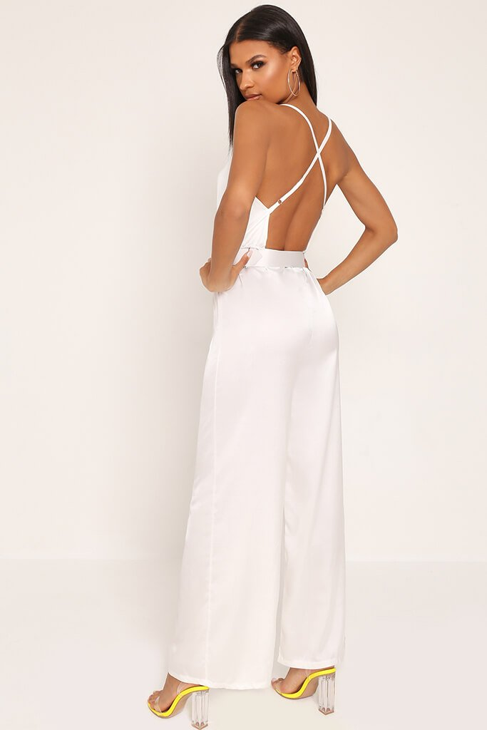 White Belted Satin Jumpsuit view 5