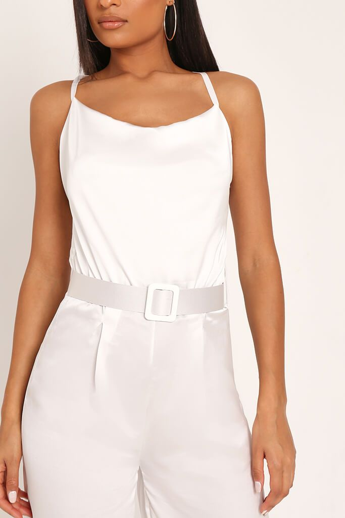 White Belted Satin Jumpsuit view 4