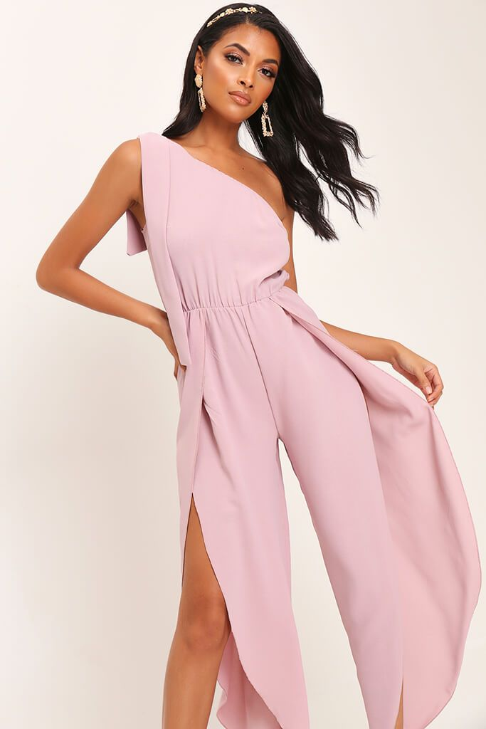 Pink Bow One Shoulder Jumpsuit view 2