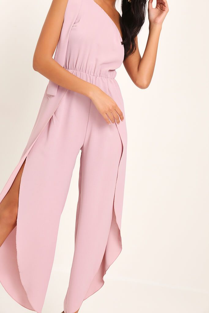Pink Bow One Shoulder Jumpsuit view 4