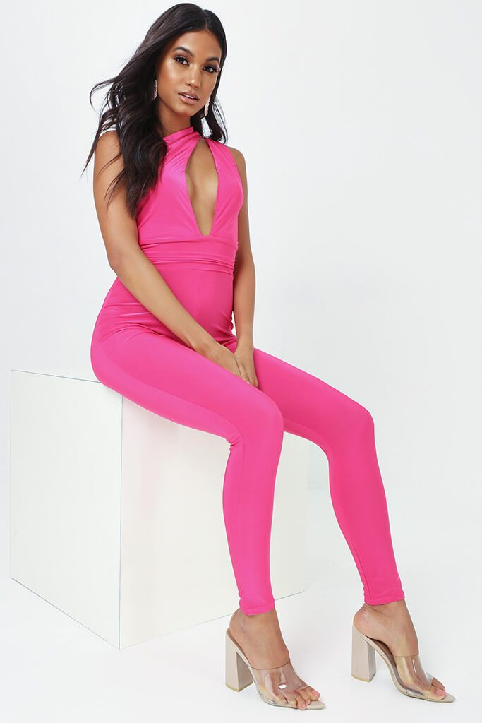 Fuschia One Shoulder Cut Out Jumpsuit