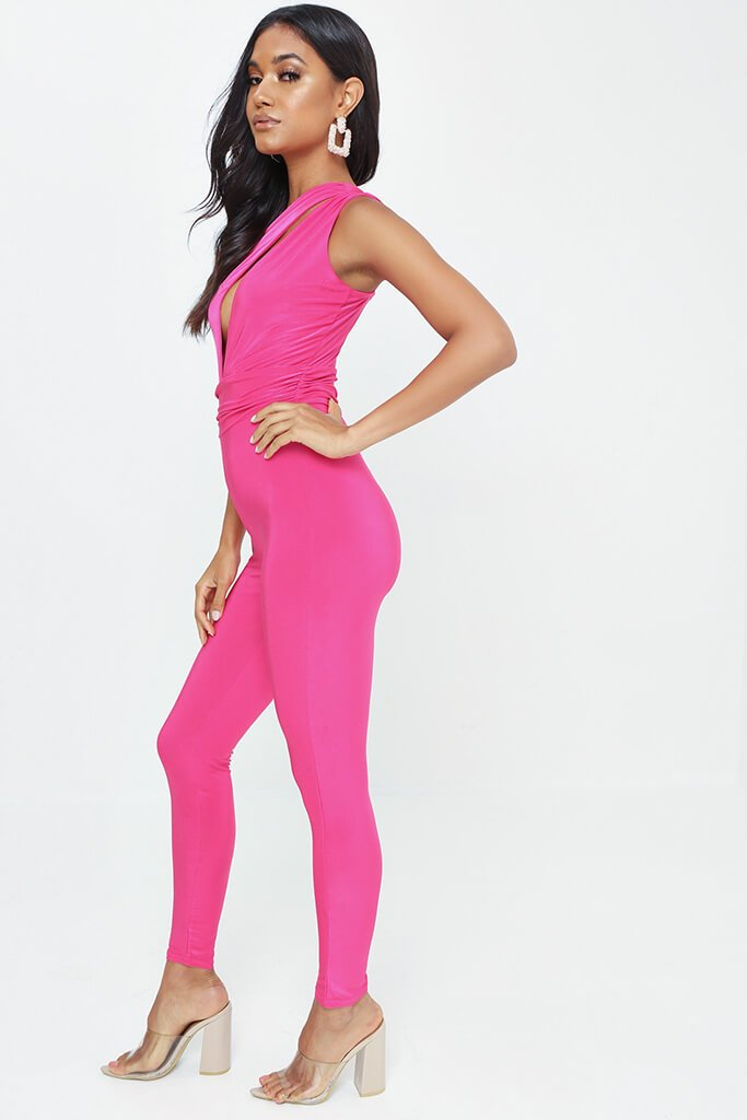 Fuschia One Shoulder Cut Out Jumpsuit view 3