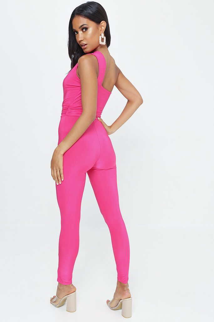 Fuschia One Shoulder Cut Out Jumpsuit view 5