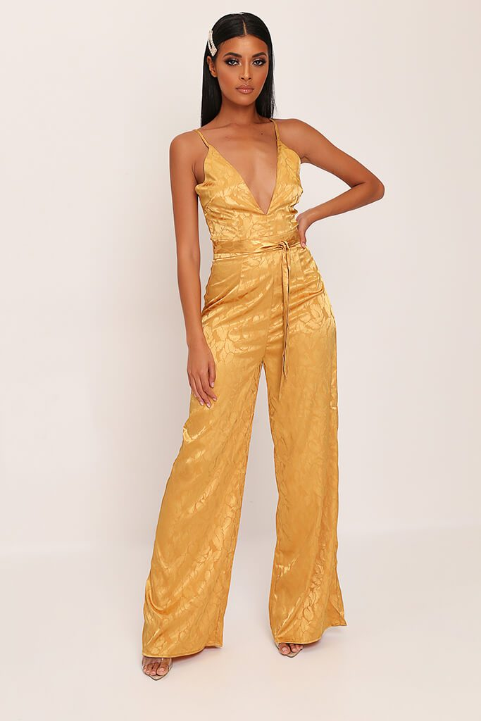 Gold Jacquard Satin Wide Leg Plunge Jumpsuit