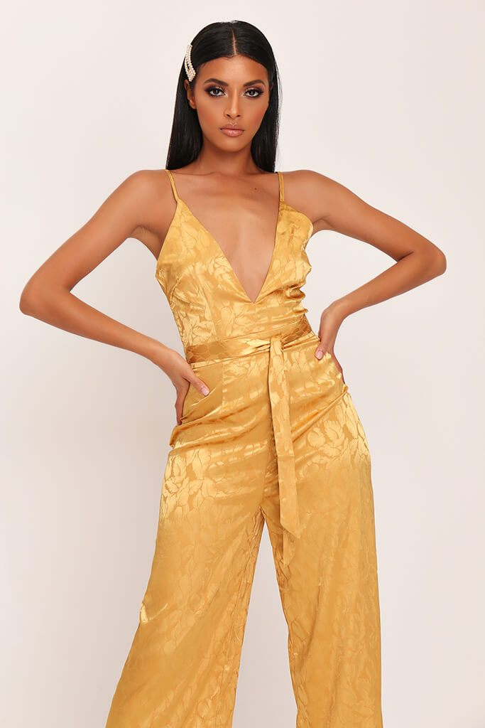 Gold Jacquard Satin Wide Leg Plunge Jumpsuit view 2