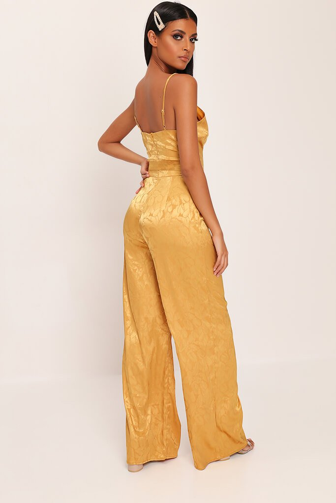 Gold Jacquard Satin Wide Leg Plunge Jumpsuit view 5