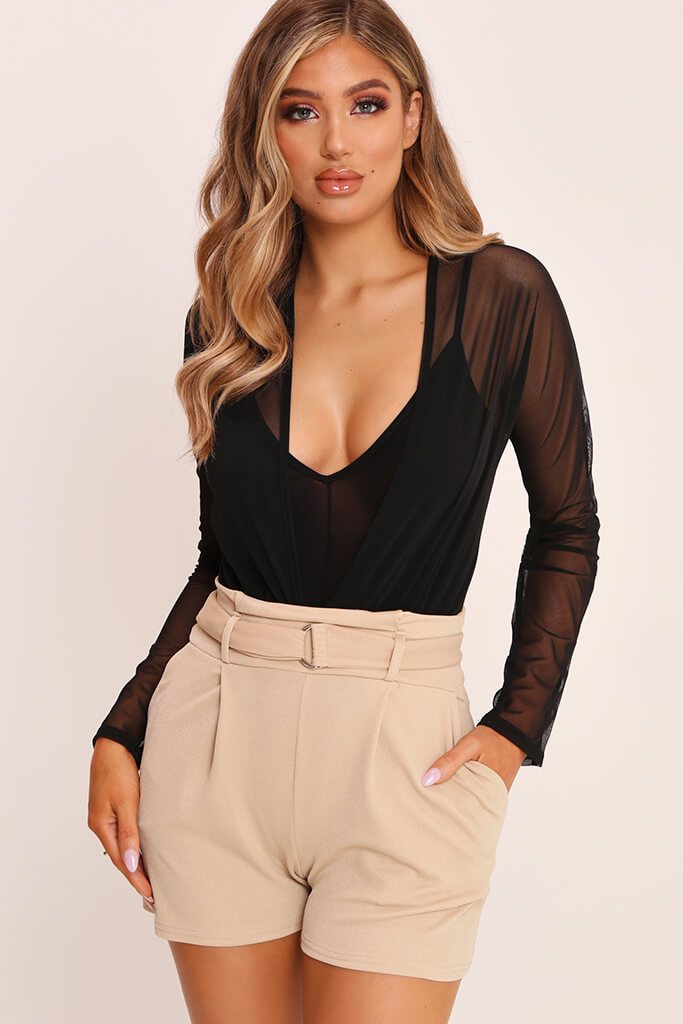 Beige High Waist D Ring Shorts