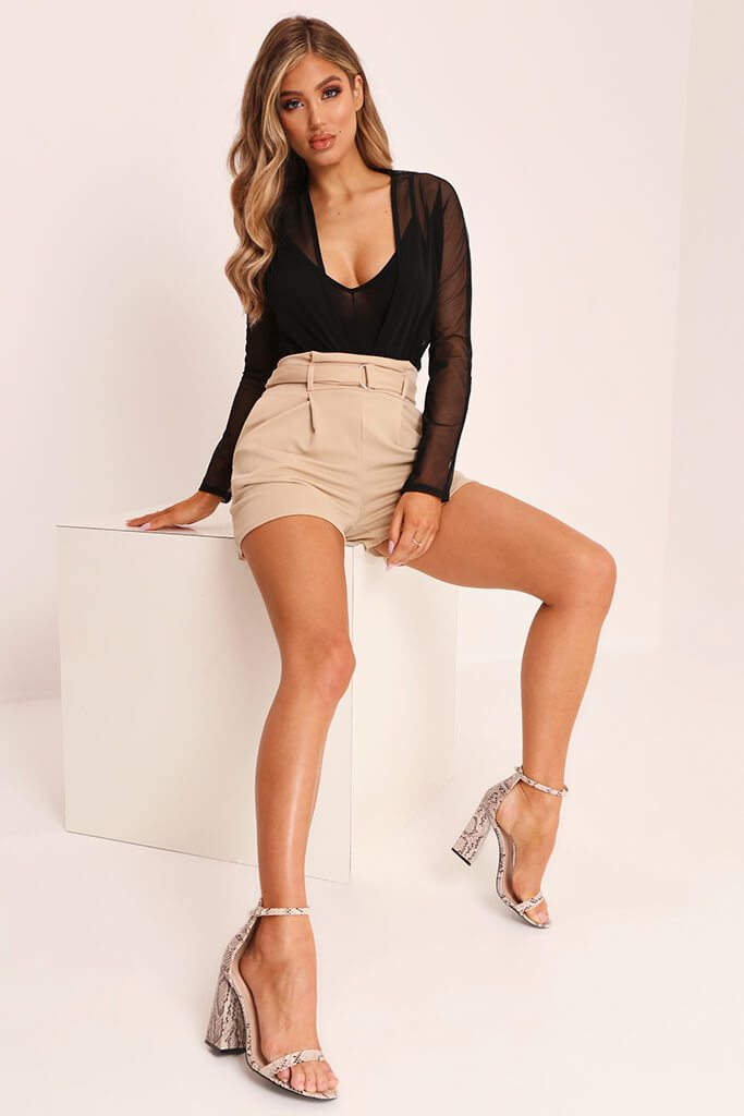 Beige High Waist D Ring Shorts view 2