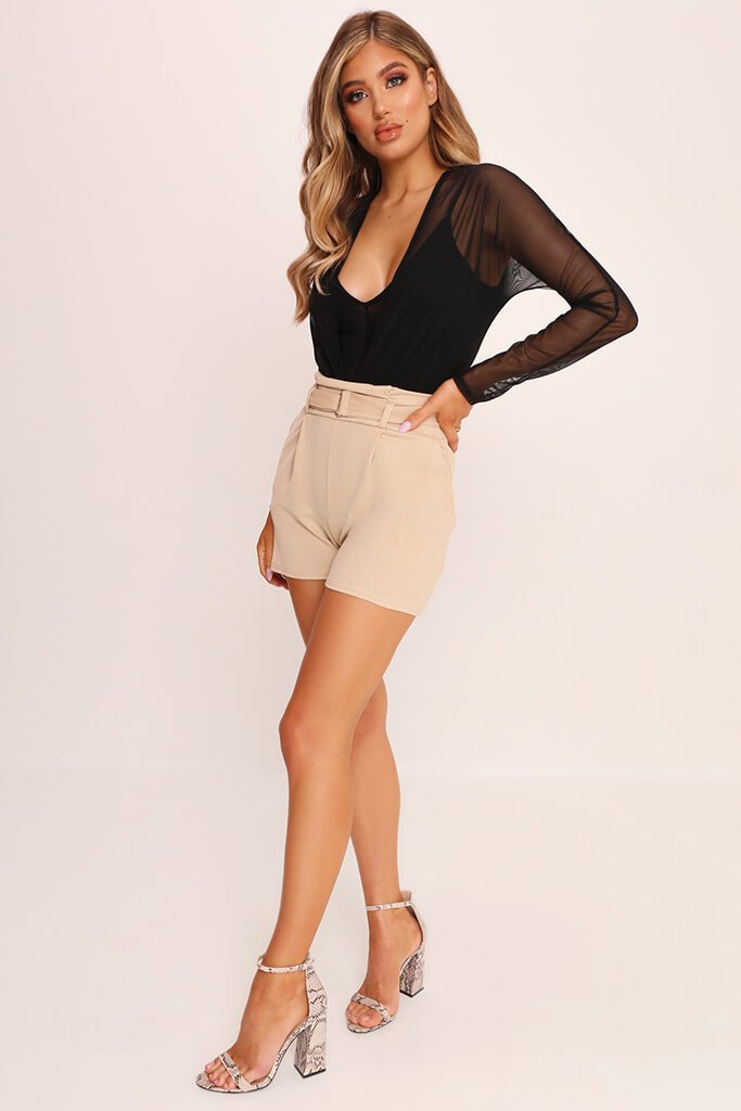 Beige High Waist D Ring Shorts view 3